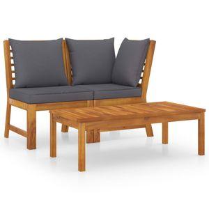 vidaXL 3-tlg. Garten-Lounge-Set mit Dunkelgrauem Kissen Akazienholz