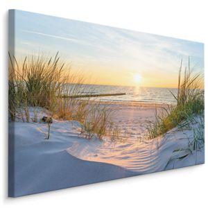 Fabelhafte Canvas LEINWAND BILDER 120x80 cm XXL Kunstdruck Meer Strand Sonne Dünen