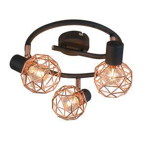 QAZQA - Design Moderner schwarzer Deckenstraher mit kupfer 3-flammig Spotbalken flammig - Mesh | Wohnzimmer | Schlafzimmer | Küche - Stahl Rund - LED geeignet E14