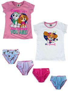 PAW PATROL Mädchen Unterwäsche-Set bestehend aus T-Shirts + Unterhosen - Vorteils Package - , Farbe:Rosa & Weiß, Größe:110/116