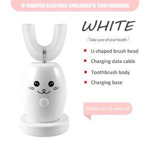 Elektrische Kinderzahnbürste, U-förmige elektrische Zahnbürste, intelligente automatische und effiziente Reinigung, weiß