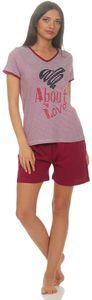 Damen Shorty Schlafanzug , Farbe:rot gestreift mit Druck, Größe :44/46