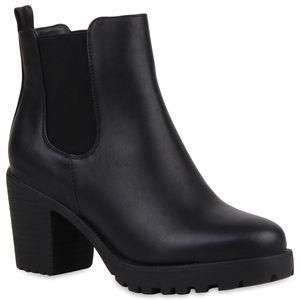 Mytrendshoe Damen Stiefeletten Chelsea Boots Profilsohle Blockabsatz Schuhe 892253, Farbe: Schwarz, Größe: 39