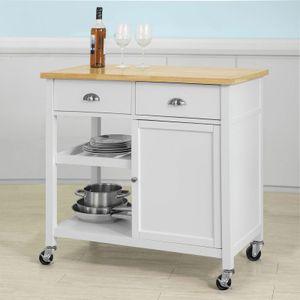 SoBuy Küchenwagen mit Ablagen und Schubladen Küchenschrank Rollwagen,FKW62-WN