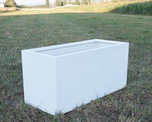 Pflanztrog, Pflanzkübel Fiberglas als Raumteiler 150x62x70cm perlmutt weiß.