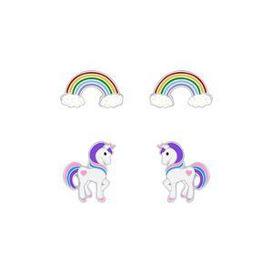 2er Set Kinder Ohrringe Silber 925 Ohrstecker Einhorn & Regenbogen
