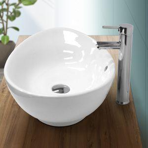 ECD Germany Waschbecken Waschtisch 590 x 390 x 200 mm aus Keramik Oval Weiß mit Überlauf - Aufsatzbecken Aufsatzwaschbecken Handwaschbecken Aufsatzwaschtisch Spülbecken Becken Wasserfall Waschschale Waschchlüssel