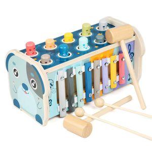 3 in 1 Hammerspiel Holz Klopfbank Hämmerchenspiel Lernspielzeug Pädagogisches Babyspielzeug Montessori Spielzeug Kinderspielzeug ab 3+ Jahren