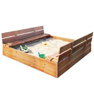 Sandkasten Sandbox mit Deckel SITZBÄNKEN Sandkiste 150x150CM Holz Schüsseln