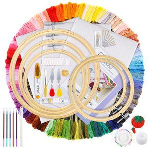 Favson 154-teiliges Stickset mit Anleitung, 100 Farbfäden, 5-teilige Bambus-Stickrahmen, Kreuzstich-Werkzeuge für Erwachsene und Anfänger für Kinder