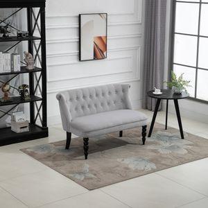 HOMCOM 2-Sitzer Couch Stoffsofa Polstersofa Sitzmöbel Loveseat Vintage Holz Grau 120 x 67 x 78 cm