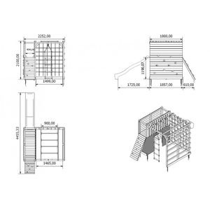 Spielplatz Kletterturm Spielturm mit Kletterwand Hängeleiter Rutsche - (4017)