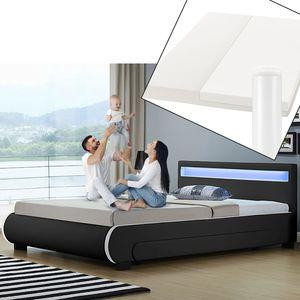 Juskys Polsterbett Bilbao 140x200 cm mit Matratze – Bett inkl. Bettkästen, LED-Beleuchtung & Lattenrost – Bettgestell Holz und Kunstleder – schwarz