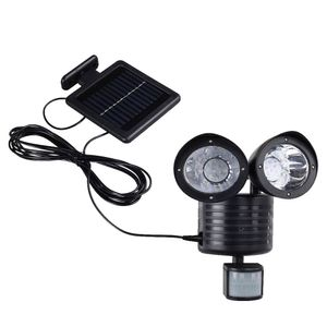 LED Solar Wandleuchte, Bewegungsmelder, schwenkbar, schwarz