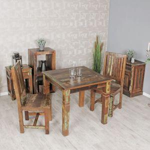 WOHNLING Esszimmertisch KALKUTTA 80 x 80 x 76 cm Mango Shabby Chic Massiv-Holz | Design Landhaus Esstisch Bootsholz | Tisch für Esszimmer rechteckig | Küchentisch 4  Personen