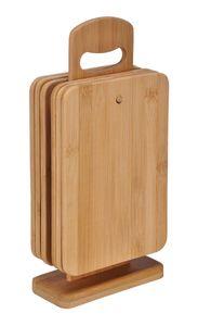 6er Set Bambusbrettchen Frühstücksbrettchen Holz Bambus Brettchen mit Ständer