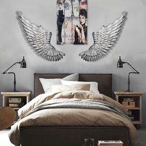 38cmx100cm Engelsflügel Wanddeko Engel Wandhänger Silber Wandskulptur Flügel