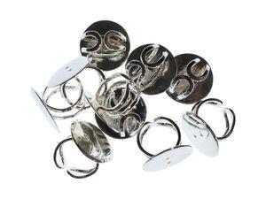 10x Ringschienen Ringschiene Ringe Fingerringe Miniblings rund 25mm versilb