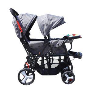 Geschwisterwagen Kinderwagen Wendiger Zwillingswagen Doppelklappbarer Stahlkinderwagen Tandemwagen Babywanne für 2 Kinder Zwillinger