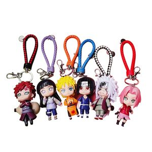 6 Stück / Set Naruto Schlüsselbund Japanischer Anime Naruto Shippuden Kawaii PVC Schlüsselring für Kinder, Jugendliche,