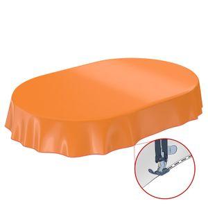 Uni Orange Einfarbig Oval 220x140cm Wachstuch Tischdecke eingefasst