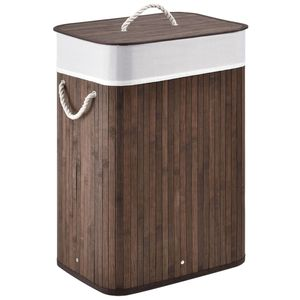 Juskys Bambus Wäschekorb Curly mit Deckel – Wäschesammler 72 Liter – Stoff Wäschesack herausnehmbar & waschbar – Wäschetonne mit Griffen – braun