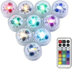 10er Pack mini RGB Teichbeleuchtung,LED Unterwasser Lichter mit Fernbedienung, Batteriebetrieben, IP68 Wasserdichte