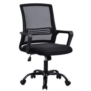 Somubi Bürostuhl Schreibtischstuhl Ergonomischer Drehstuhl Computer Stuhl Chefsessel mit Mesh Netz Wippfunktion Schwarz