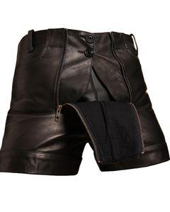 Bockle® Pants Pants Lederhose Leder Jeans Leder Shorts Pants kurze Lederhose Schwarz Herren  , W33/L30