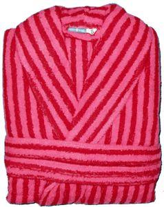 Frottee Bademantel aus Baumwolle, rot rose Streifen, Gr. S, Morgenmantel, Frottier, Unisex für Damen und Herren