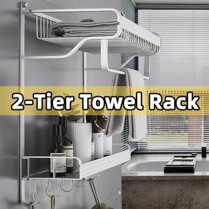 MECO 2 Ablagen Handtuchhalter Wandmontage Aufbewahrungsschiene Rack Badezimmer Badetuch