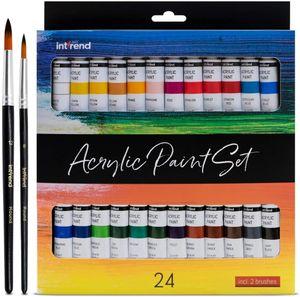int!rend Acryl Farben Set, 24 wasserfeste Malfarben je 12 ml + 2 Pinsel, Acrylic Paint für Papier, Holz, Leinwand, Ton, Steine, Gips, Acrylfarbe zum Bilder Malen, Basteln und Modellbau