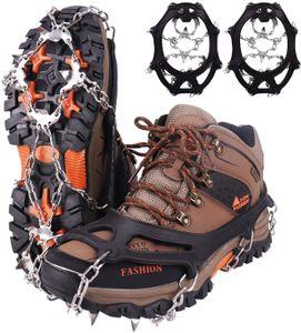 Steigeisen Grödel Eisspikes,Schuhkrallen mit19 Edelstahl Zähne Spikes,Schuhkrallen,Grödeln Eisspikes,für Klettern Bergsteigen Trekking High Altitude Winter Outdoor(L)