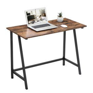 VASAGLE Schreibtisch, 100 x 50 x 75 cm, Computertisch, stabil, platzsparend, einfacher Aufbau, Industrie-Design, braun-schwarz LWD40X