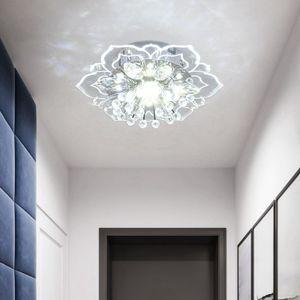 LED Deckenleuchte inkl moderne Kristall 9W 1300 lm Flur Pendelleuchte Kronleuchter Kaltweiss 20 x 5cm(Versteckte Installation)