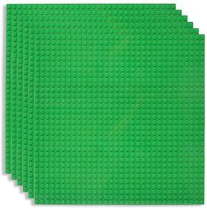 6 Platten-Set Bauplatte Kompatibel mit Meisten Marken, 25*25cm, Grüne Grundplatte