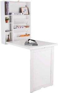 GOPLUS Wandtisch klappbar, Wandklapptisch aus Holz, Computertisch Farbewahl, Schreibtisch, Bartisch, Esstisch, Küchentisch, Klappschreibtisch (Wei?)
