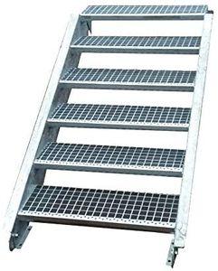Stahltreppe verzinkt 6 Stufen Geschosshöhe 90-120cm / Stufenmaße 60 cm x 24 cm