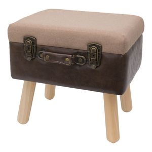 HMF Sitzhocker Koffer mit Stauraum im Vintage-Design, 40 x 32 x 39 cm, Klassik