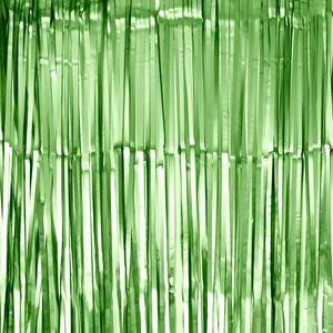 Oblique Unique Lametta Vorhang für Weihnachten Silvester Geburtstag Deko Party Fasching Karneval - matt grün