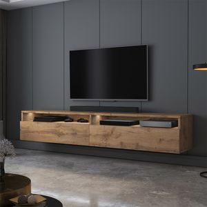 Selsey TV-Schrank  REDNAW - modernes TV-Board in Wotan Eiche Matt mit LED, stehend / hängend, 180 cm breit