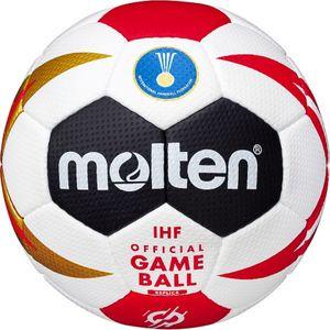MOLTEN Handball WM 2019 Replika Ball weiß schwarz rot gold, Größe:1