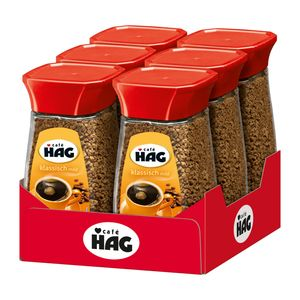 CAFÉ HAG klassisch mild löslicher Kaffee koffeinfrei 6 Gläser 100 g Instantkaffee