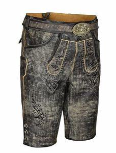Trachten Lederhose Bundhose kurz mit Gürtel Anthrazit Braun Vintage 50
