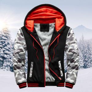 Herren Hoodie Winter Warm Villus Reißverschluss Pullover Jacke Outwear Mantel Größe:5XL,Farbe:Schwarz