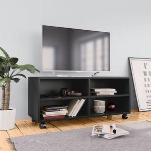 anlund TV-Schrank mit Rollen Schwarz 90×35×35 cm Spanplatte
