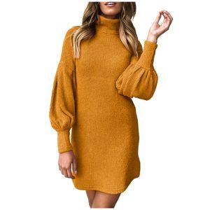 Frauen Winter warm High Neck Langarm Strickkleid Abendparty Kleid Größe:M,Farbe:Gelb