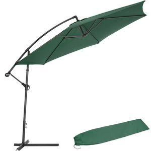 tectake Sonnenschirm Ampelschirm Ø 350cm mit Schutzhülle - grün