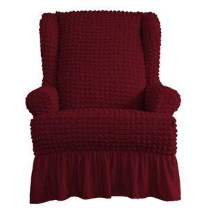 Sofabezug 1 Sitzer Sesselbezug Sesselschoner Sesselhusse Sesselschutz Sesselüberwurf für Ohrensessel Fernsehsessel Einheitsgröße Burgund Schonbezug Einfarbig mit Rüschenröcken