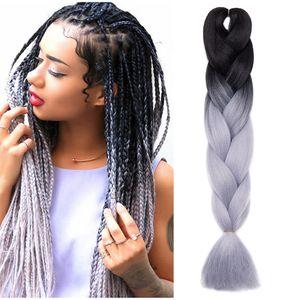 S-noilite Braids Extensions Flechten Hair Extensions Jumbo Crochet Haar Kunsthaar Kanekalon Colorful 1pcs 60 cm-100 g Schwarz bis Silbergrau